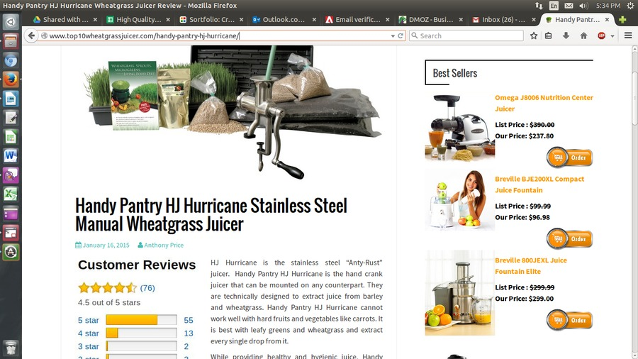 A great web design by Top 10 Wheat Grass Juicer, New Jersey, NJ: Website, Blog , Retail