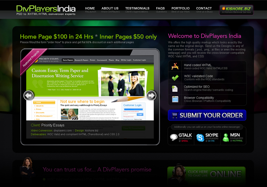 A great web design by DivPlayers India, New Delhi, India: