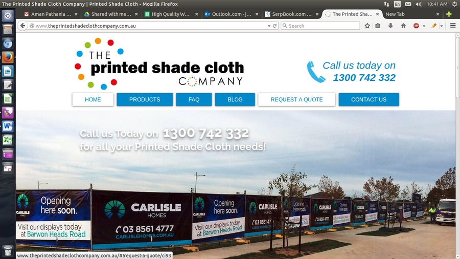 A great web design by The Printed Shade Cloth Company, Victoria, Australia: