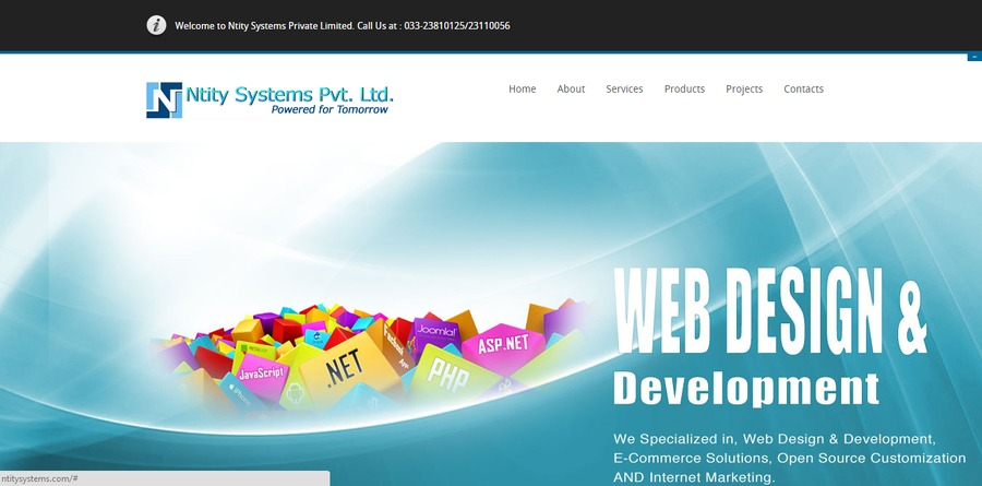 A great web design by Ntity Systems Pvt. Ltd., Kolkata, India: