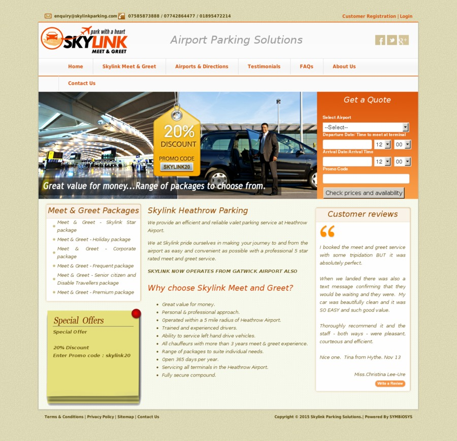 A great web design by Heathrow Meet and Greet Parking, Uxbridge, United Kingdom: