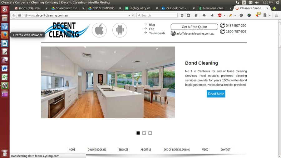 A great web design by Decent Cleaning Services, Canberra, Australia: