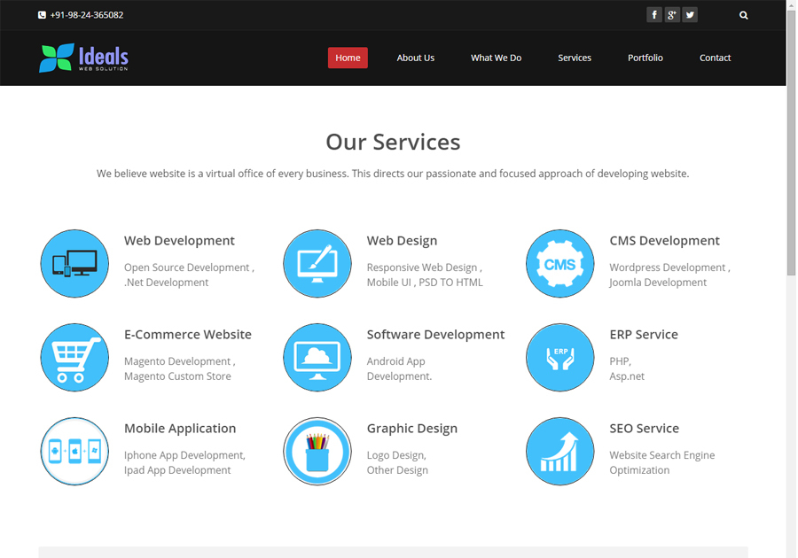A great web design by Ideal Web Solutions, Ahmedabad, India: