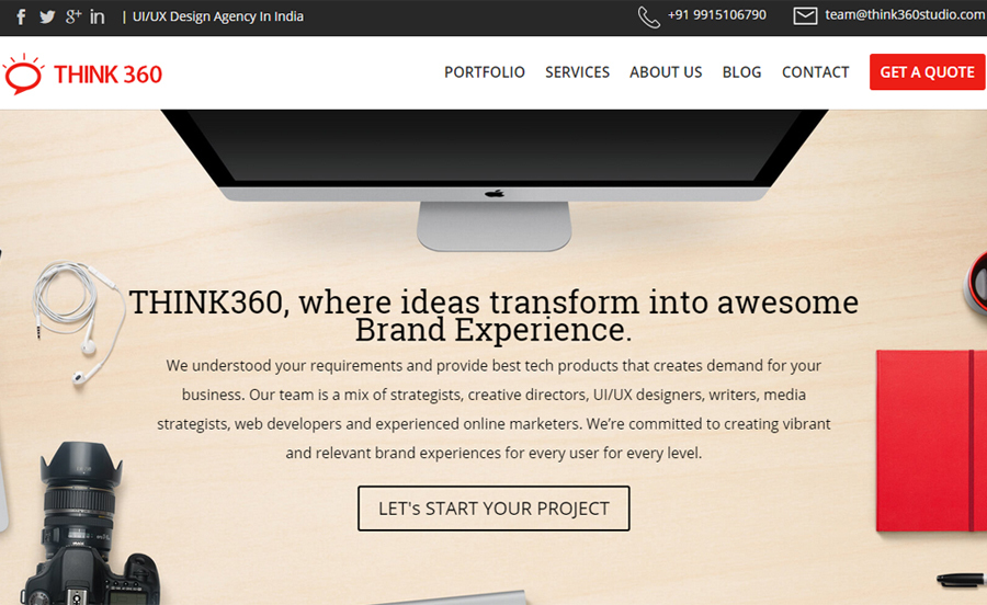 A great web design by Think360 Studio, Chandigarh, India:
