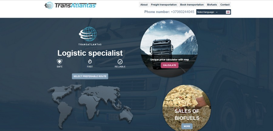 A great web design by Pastebimas.lt, Copenhagen, Denmark: Responsive Website, Web Application , Transportation , PHP