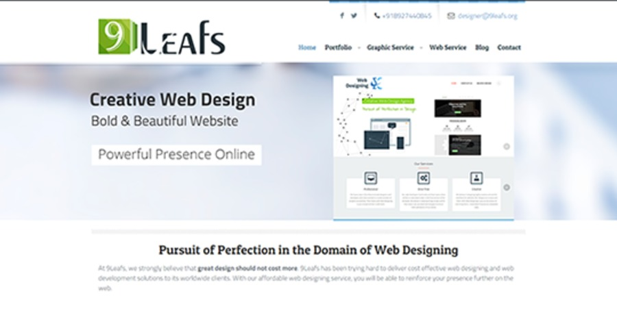 A great web design by 9Leafs, Burdwan, India: