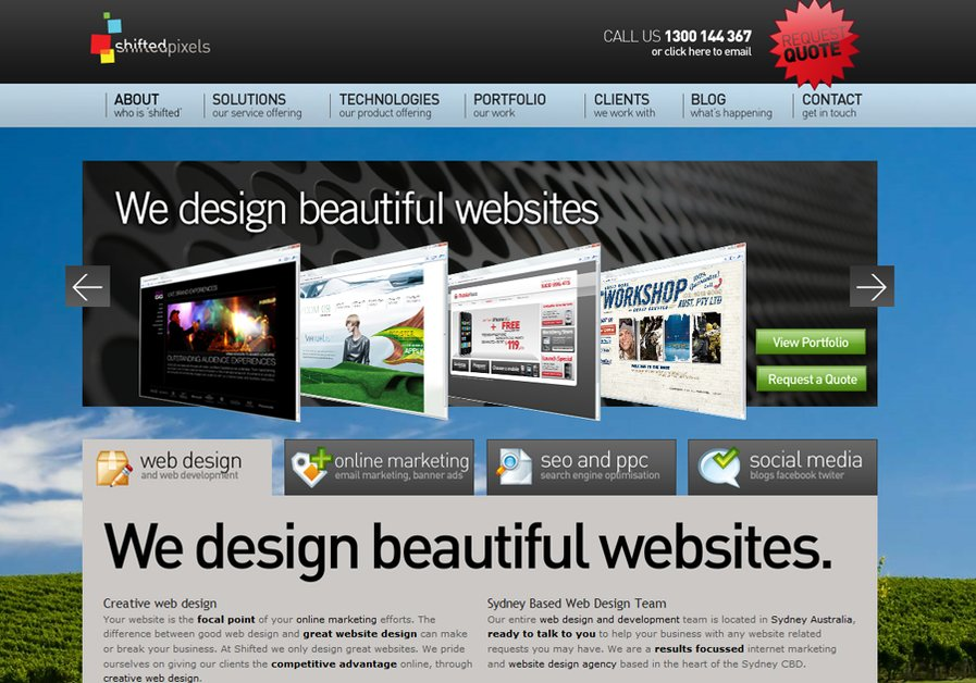 A great web design by Shifted Pixels, Sydney, Australia: