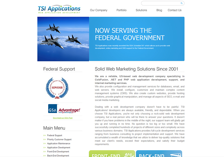 A great web design by TSI Applications, Phoenix, AZ: