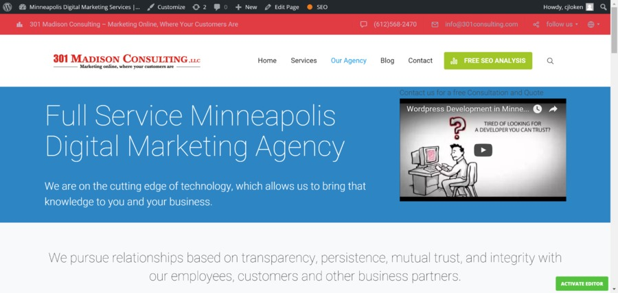 A great web design by 301 Madison Consulting, Minneapolis, MN: