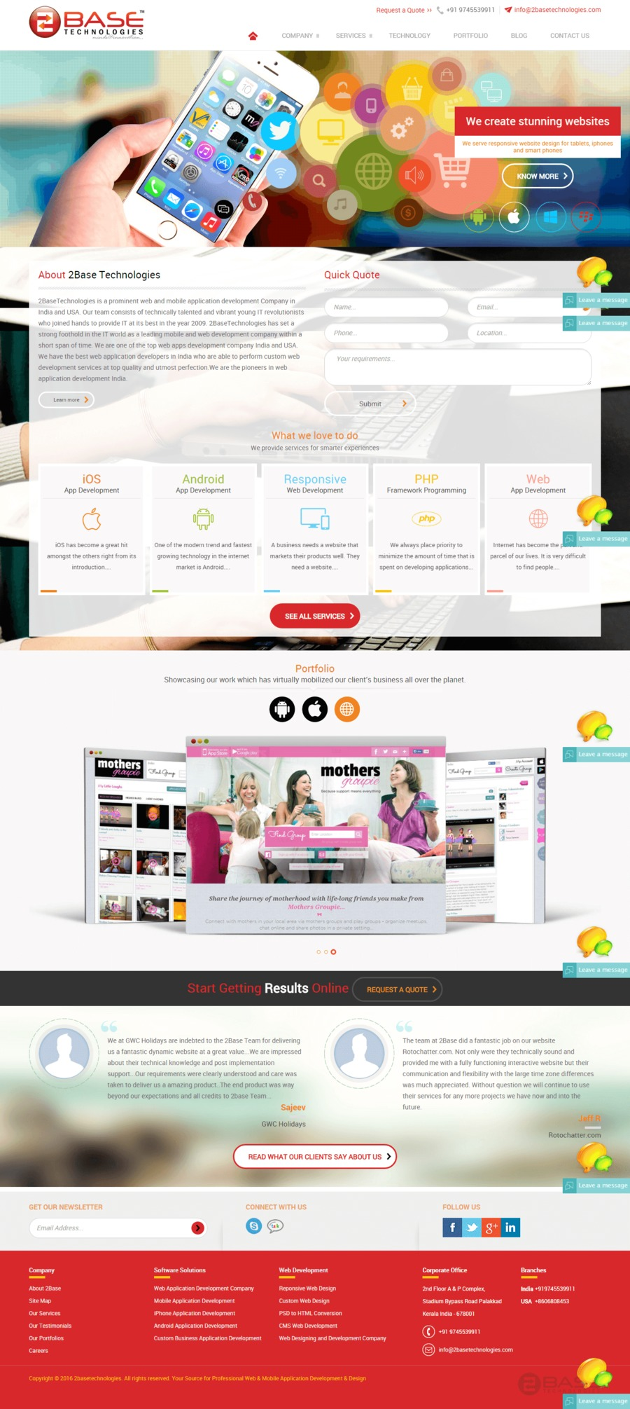 A great web design by 2Base Technologies, India, UT: