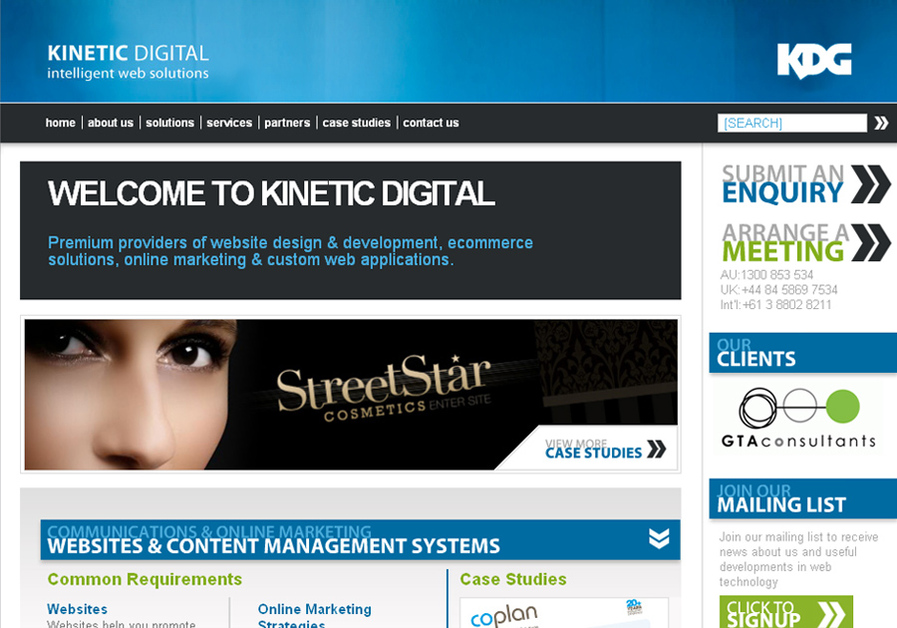 A great web design by Kinetic Digital, Melbourne, Australia: