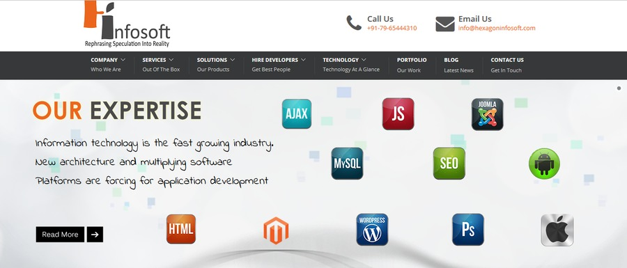 A great web design by Hexagon InfoSoft Solutions, Ahmedabad, India: