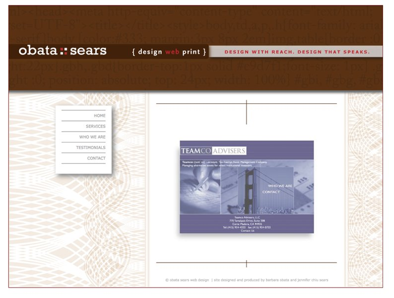 A great web design by Obata Sears Design, San Francisco, CA: