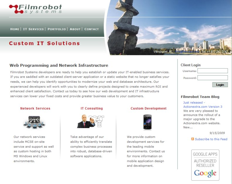 A great web design by Filmrobot Systems, Vancouver, Canada: