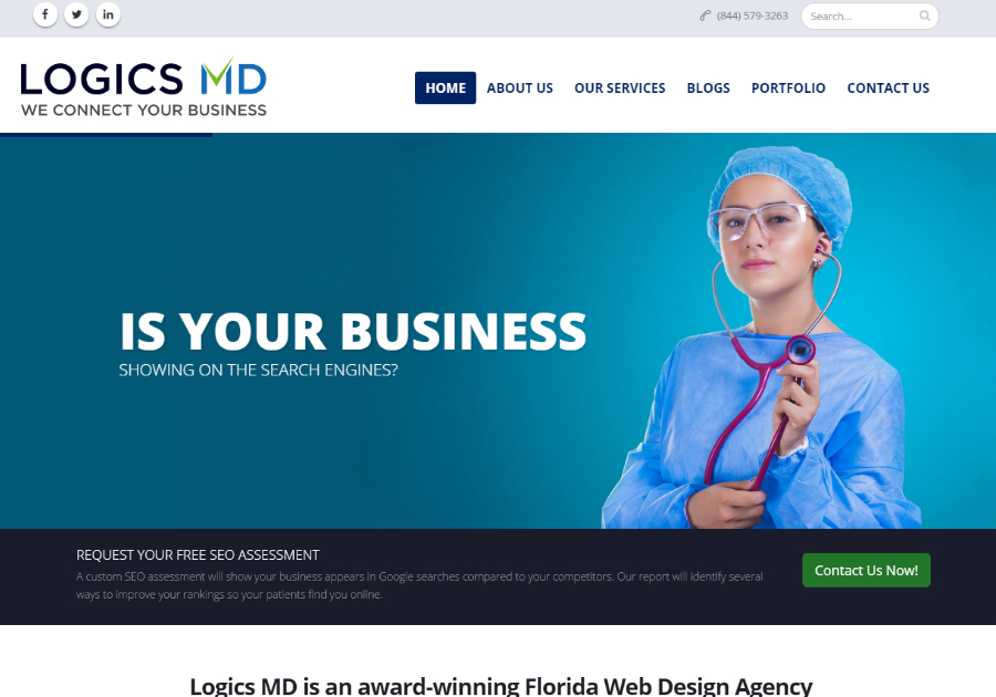 A great web design by Logics MD, Miami, FL: