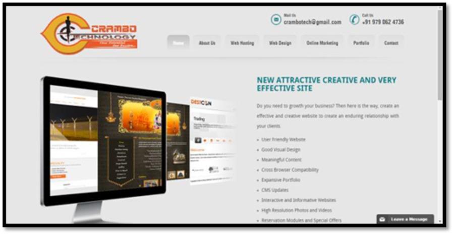 A great web design by Crambo Technology, Chennai, India:
