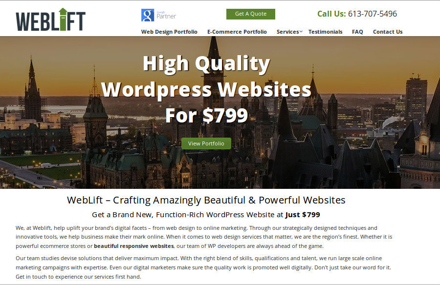 A great web design by Weblift, Ottawa, Canada: Responsive Website, Portfolio , Service , Wordpress