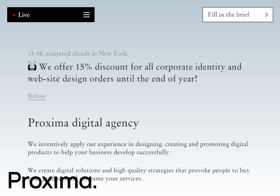 A great web design by Proxima agency, New York, NY:
