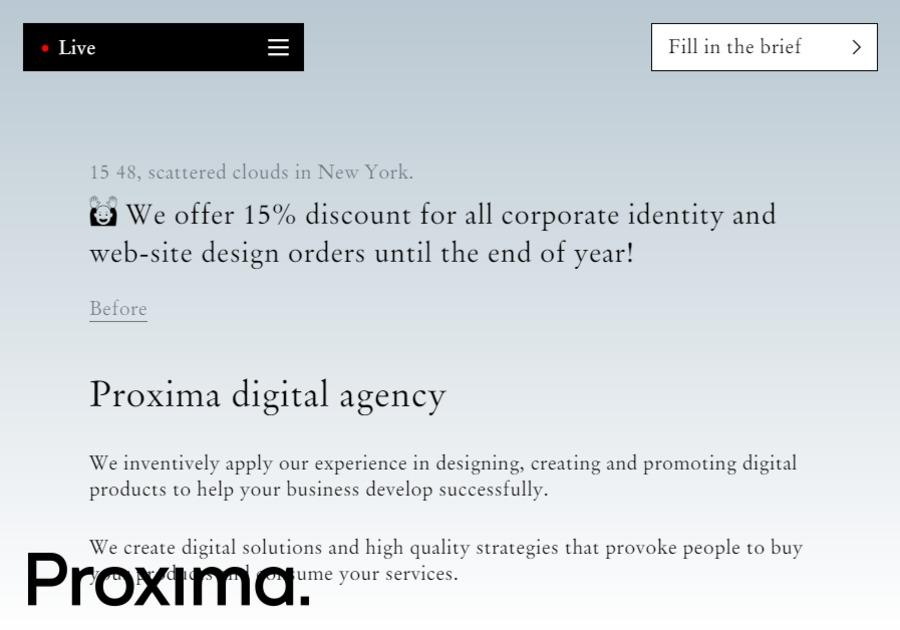 A great web design by Proxima agency, New York, NY: