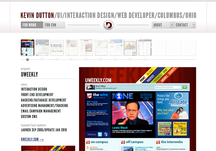 A great web design by Kevin Dutton, Columbus, OH: