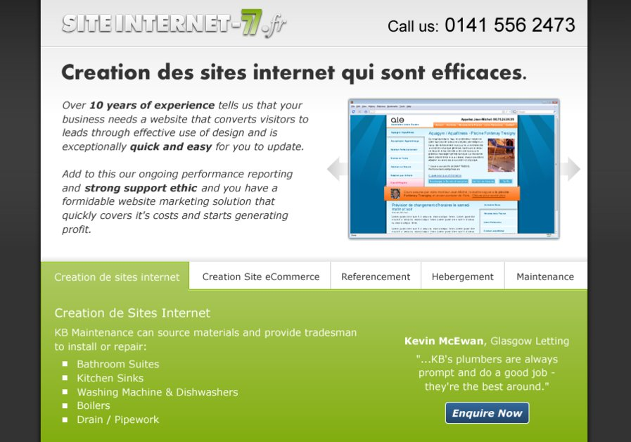 A great web design by Creation de Site Internet 77, Paris, France: