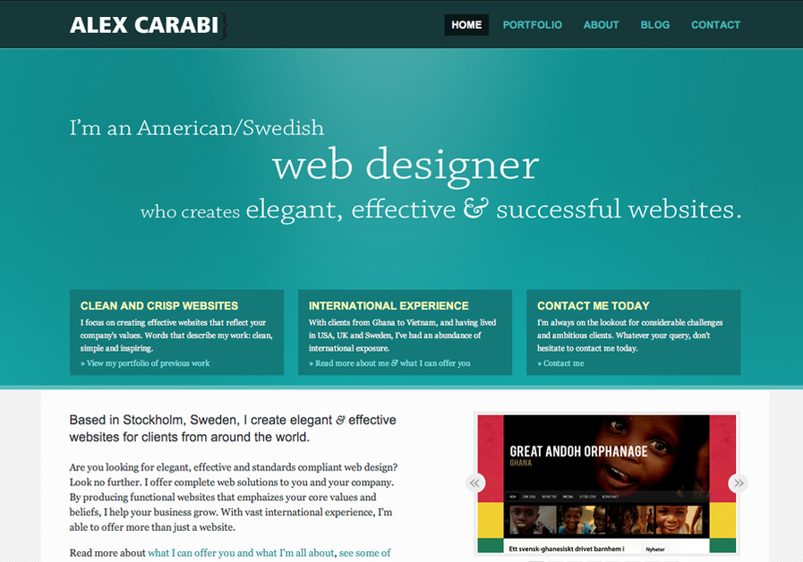 A great web design by Alex Carabi, Copenhagen, Denmark: