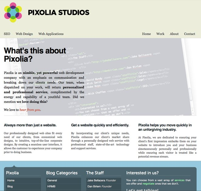 A great web design by Pixolia Studios, Sacramento, CA: