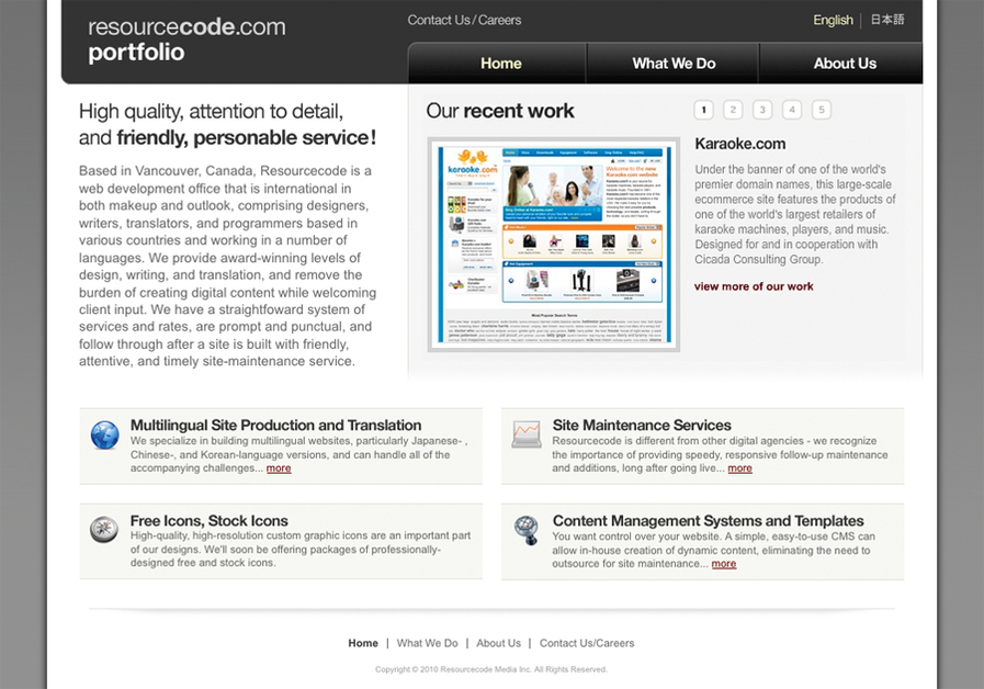 A great web design by Resourcecode Media Inc., Vancouver, Canada: