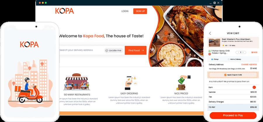 A great web design by Kopa Global Technologies, California City, CA: Mobile App , E-Commerce , Food & Beverage , node.js