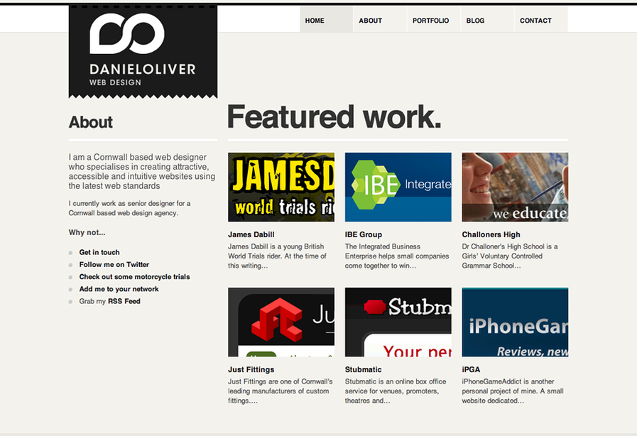 A great web design by Daniel Oliver, Cornwall, United Kingdom:
