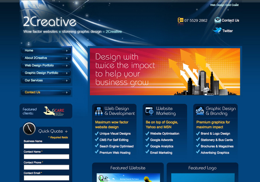 A great web design by 2Creative, Gold Coast, Australia:
