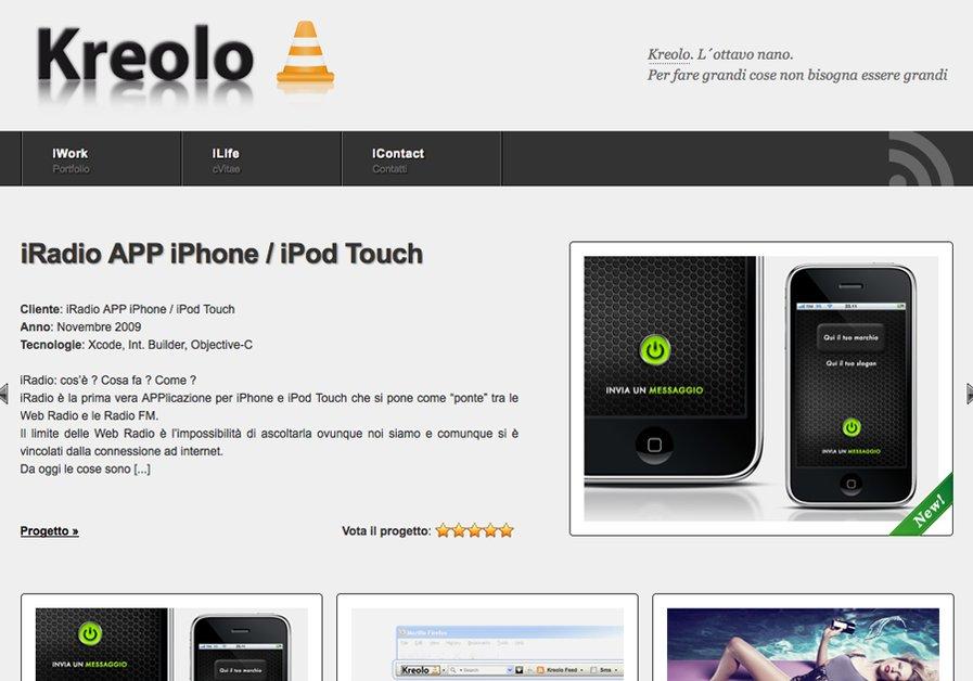 A great web design by Kreolo.com, Bologna, Italy: