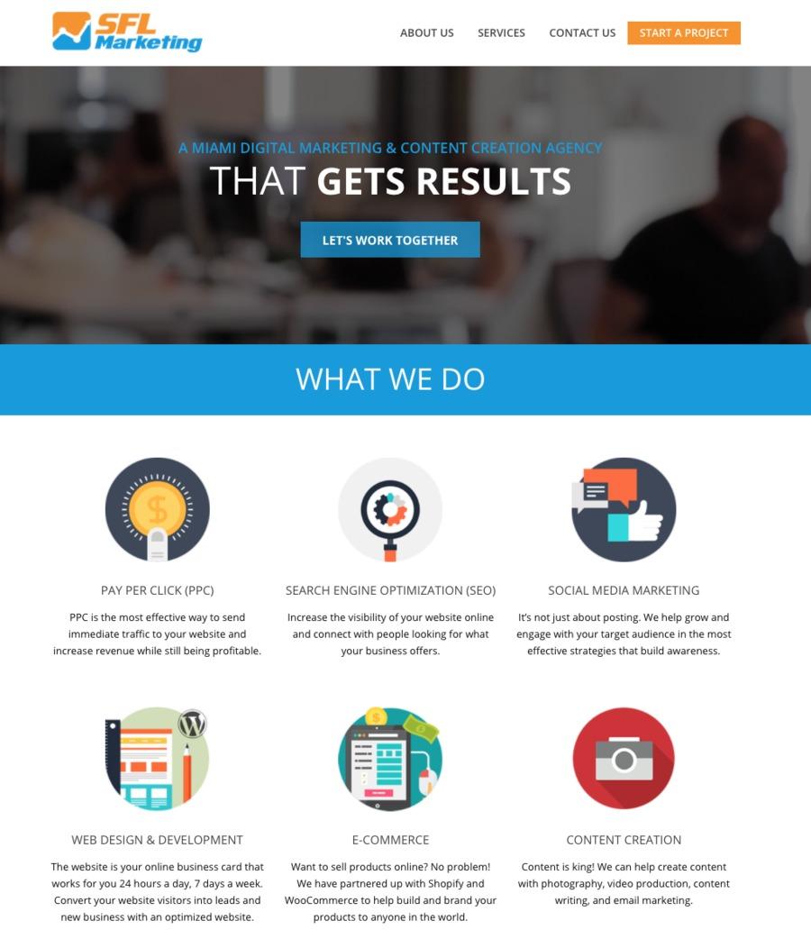 A great web design by SFL Marketing, Miami, FL: