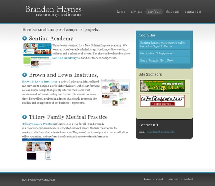 A great web design by Brandon Haynes, New Orleans, LA: