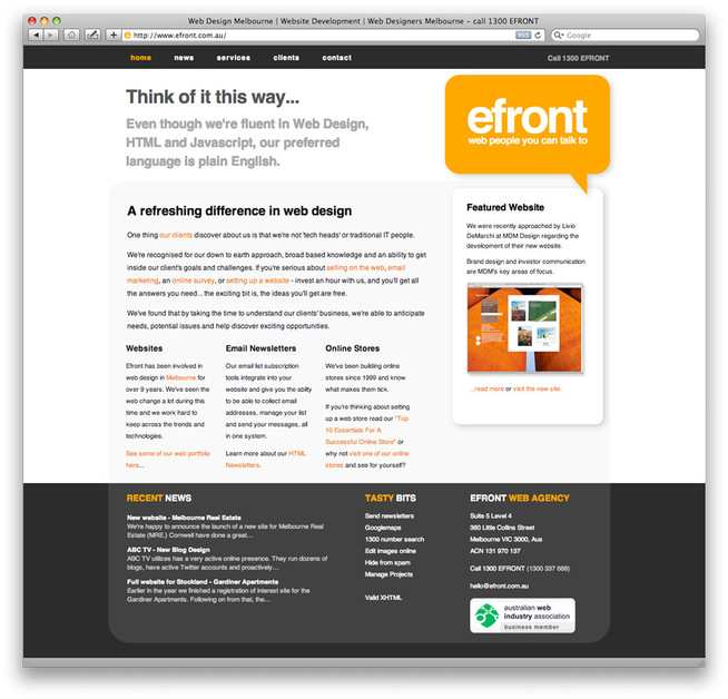 A great web design by Efront, Melbourne, Australia: