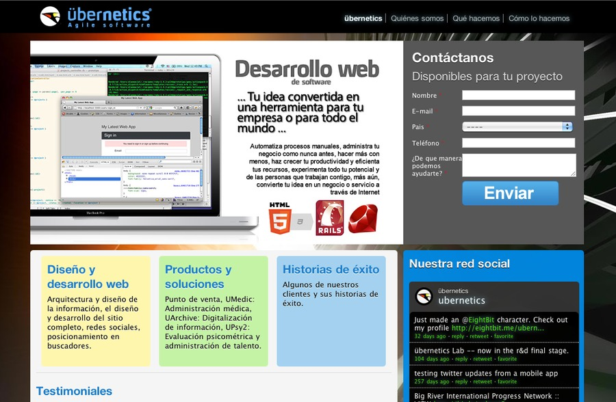 A great web design by übernetics agile software, Mexico, Mexico: