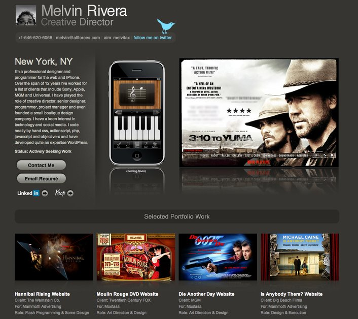 A great web design by Melvin Rivera, New York, NY:
