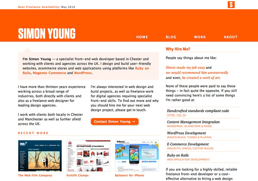 A great web design by Simon Young: