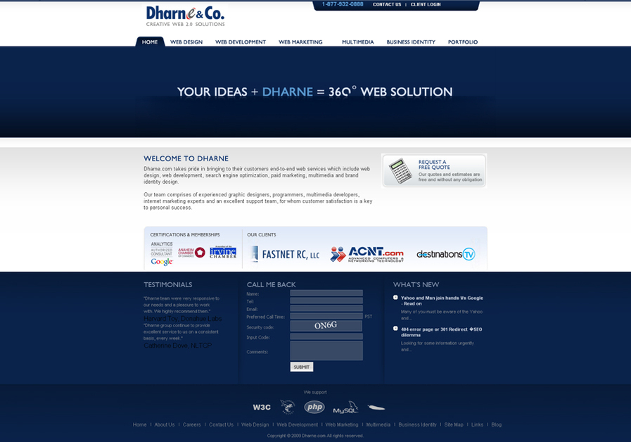 A great web design by Dharne & Co., Los Angeles, CA: