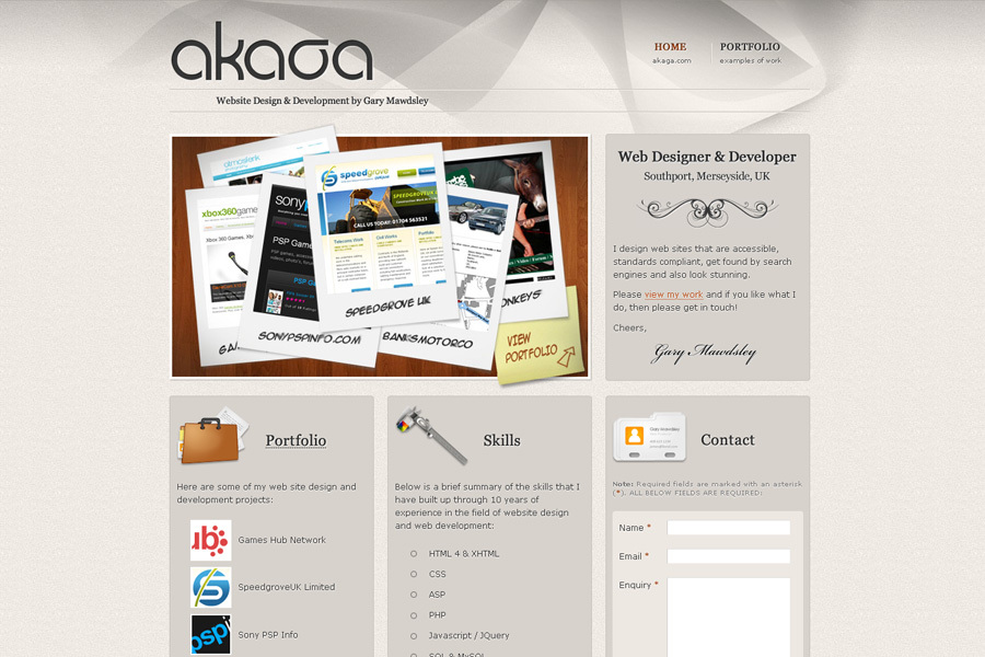 A great web design by AKAGA - Gary Mawdsley, Southport, United Kingdom: