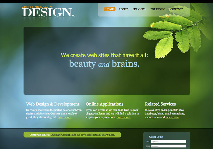 A great web design by Christine Galvin Design, Inc., Cleveland, OH: