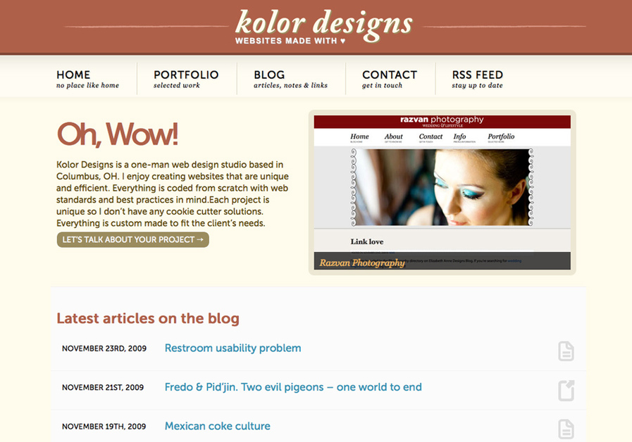 A great web design by Kolor-Designs, Columbus, OH:
