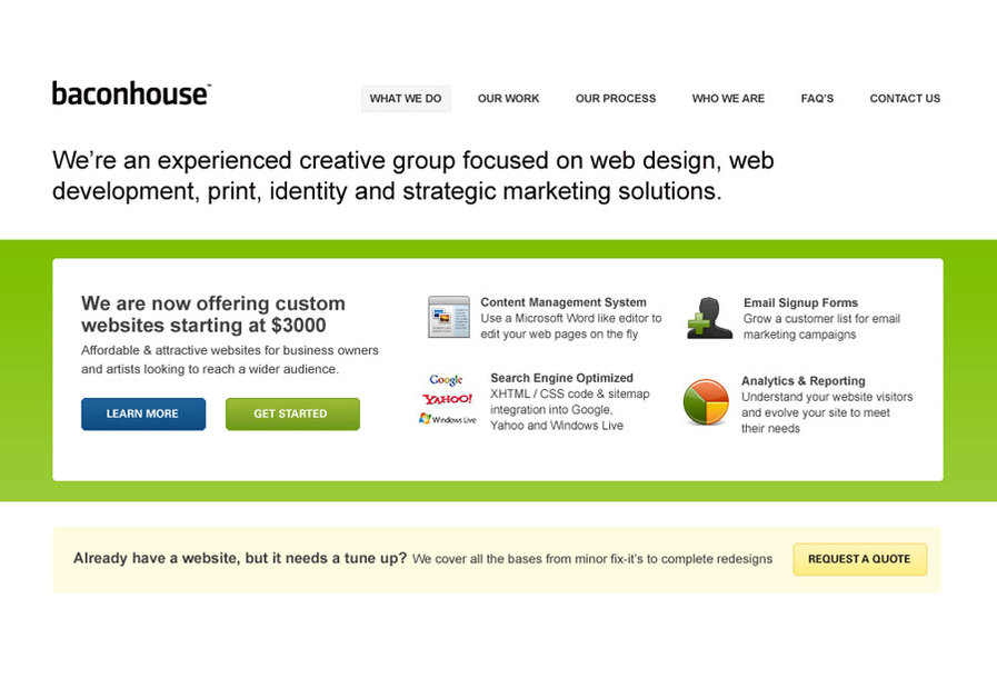 A great web design by Baconhouse, Boston, MA: