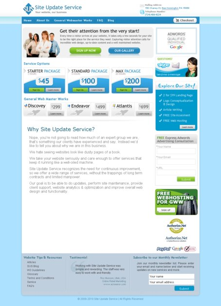 A great web design by Site Update Service, Pittsburgh, PA: