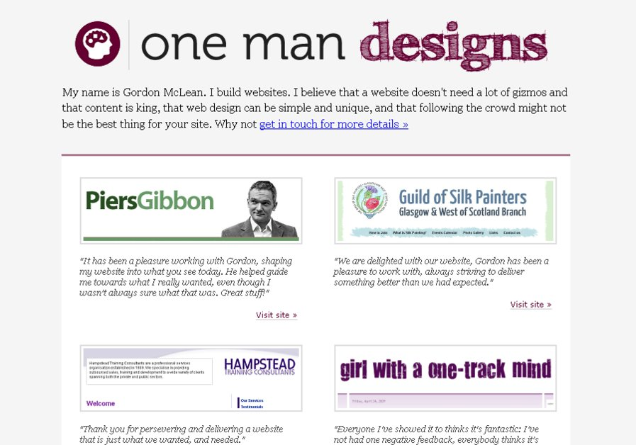 A great web design by One Man Designs, Glasgow, United Kingdom:
