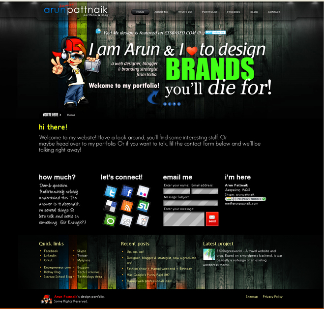 A great web design by Arun Pattnaik, New Delhi, India: