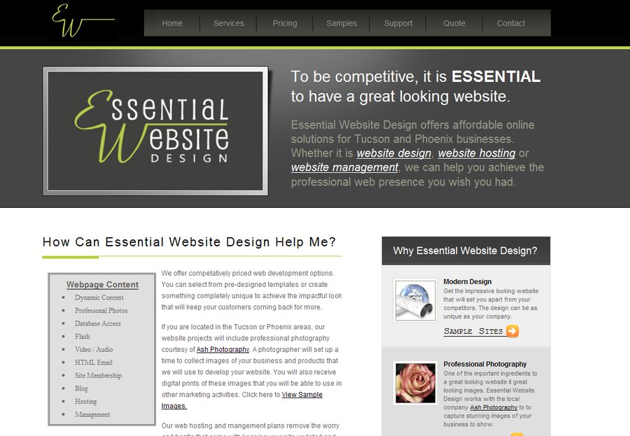 A great web design by Essential Website Design, Tucson, AZ: