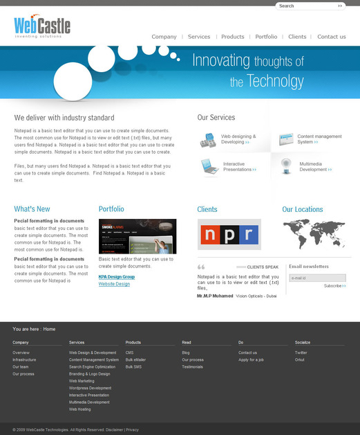 A great web design by WebCastle Media Pvt LTD, Cochin, India: