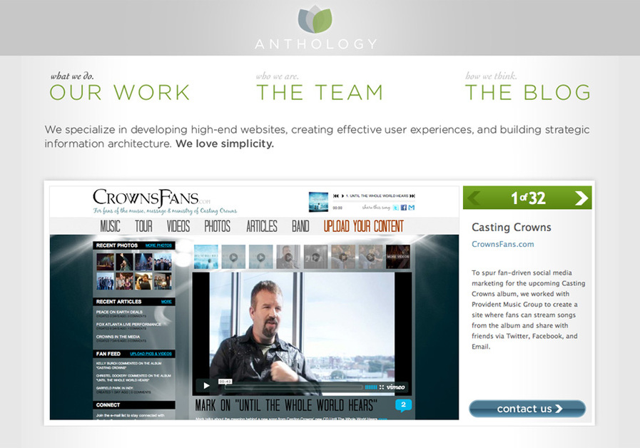 A great web design by Anthology Creative, Nashville, TN: