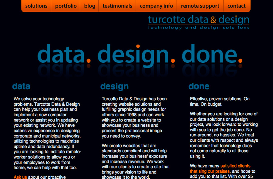 A great web design by Turcotte Data & Designs, Springfield, MA:
